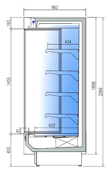 CM-8R-100 Hűtött faliregál