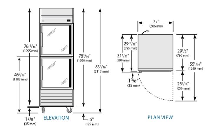 TS-23G-2-HC - Rozsdamentes hűtővitrin