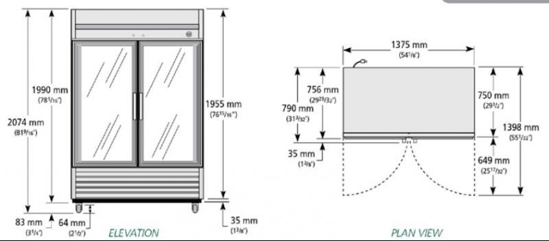 TS-49G-LD - Rozsdamentes hűtővitrin
