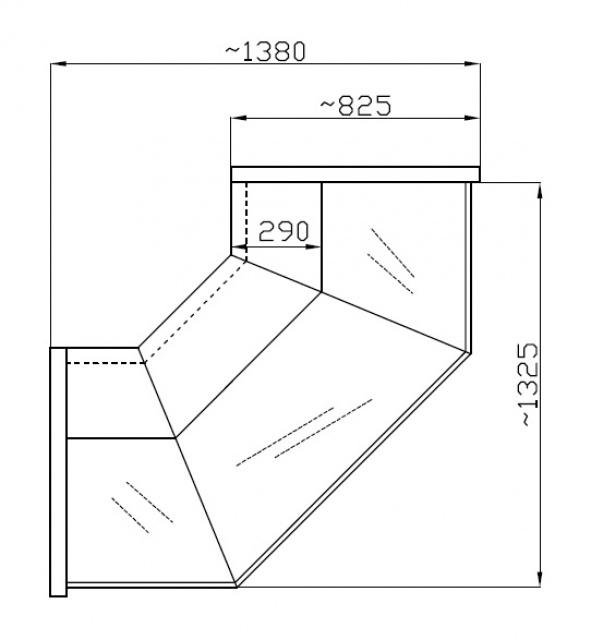 NCHZ 1,3/0,8 - Egyenes üvegű külső sarokpult (90°)