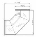 NCHGZ 1,3/0,8 - Hajlított üvegű külső sarokpult (90°)