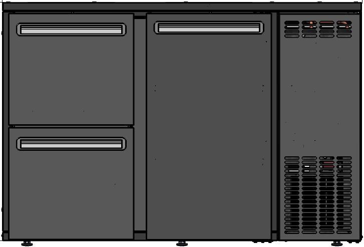 DCL-32 MU/VS - Bárhűtő 1 ajtóval, 2 egyforma fiókkal