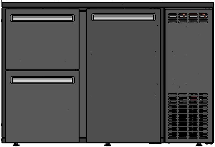 DCL-52 MU/VS - Bárhűtő 1 ajtóval, 2 különböző fiókkal