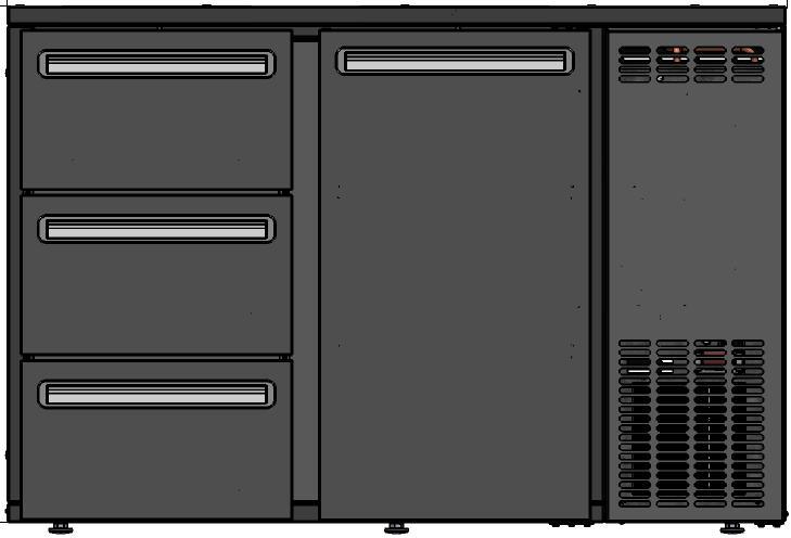 DCL-62 MU/VS - Bárhűtő 1 ajtóval, 3 egyforma fiókkal