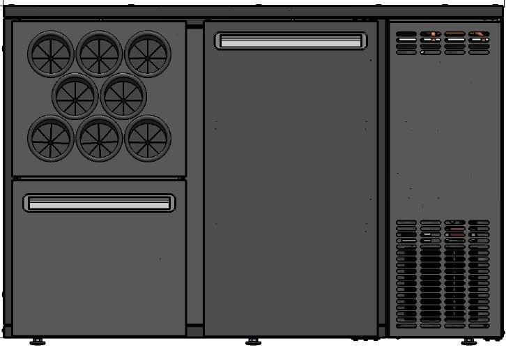 DCL-12 MU/VS - Bárhűtő 1 ajtóval, 1 fiókkal, palacktartóval