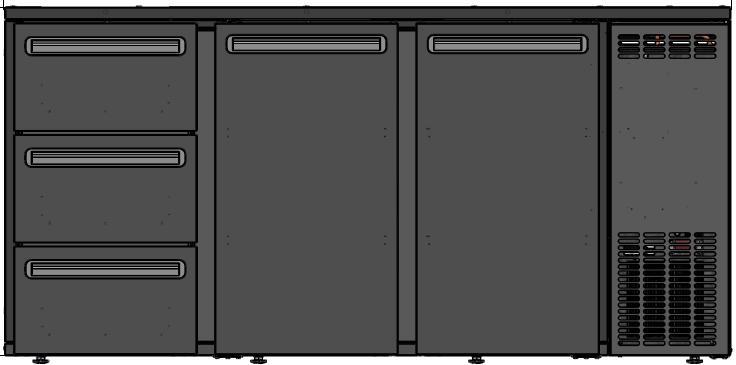 DCL-622 MU/VS - 2 ajtós bárhűtő három fiókkal