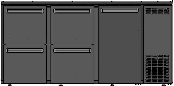 DCL-332 MU/VS - Bárhűtő 1 ajtóval, 4 egyforma fiókokkal