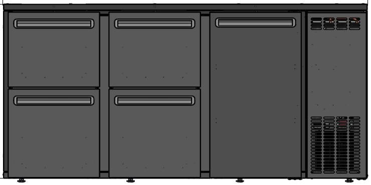 DCL-552 MU/VS - Bárhűtő 1 ajtóval, 4 különböző fiókkal