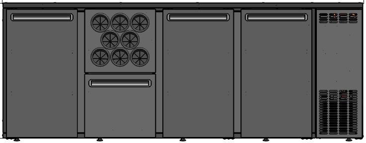 DCL-2122 MU/VS - Bárhűtő 3 ajtóval, 1 fiókkal, palacktartóval