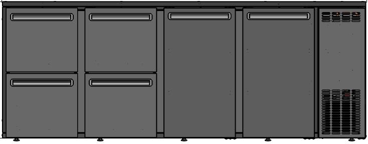 DCL-3322 MU/VS - Bárhűtő 2 ajtóval,4 egyforma fiókkal