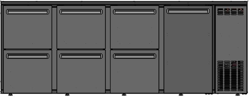 DCL-3332 MU/VS - Bárhűtő 1 ajtóval, 6 egyforma fiókkal
