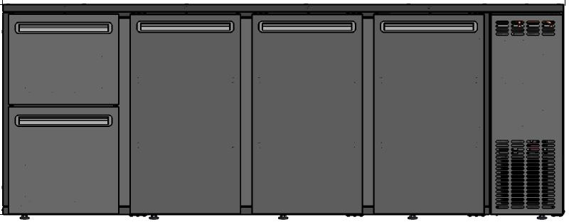 DCL-5222 MU/VS - 3 door bar cooler with two different drawers