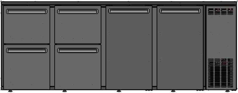DCL-5522 MU/VS - Bárhűtő 2 ajtóval, 2-2 különböző fiókkal