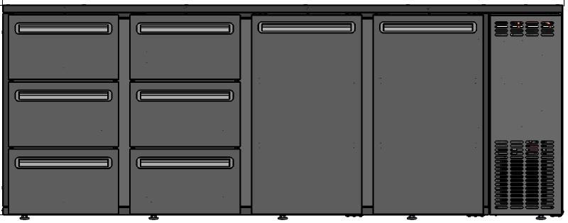 DCL-6622 MU/VS - Bárhűtő 2 ajtóval, 6 egyforma fiókkal