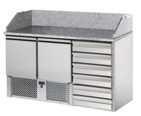 SL02C6   Pizzaelőkészítő asztal, 2 ajtóval, 6 fiókkal