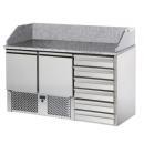 SL02C6 | Pizzaelőkészítő asztal, 2 ajtóval, 6 fiókkal