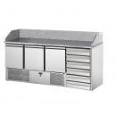 SL03C6 | Pizzaelőkészítő asztal, 3 ajtóval, 6 fiókkal