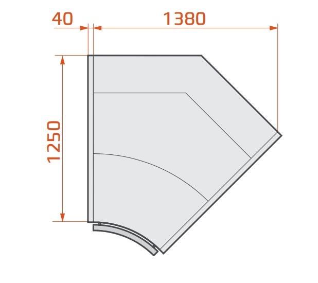 LCP Pegas SPH INT45 - Belső sarokpult 45°