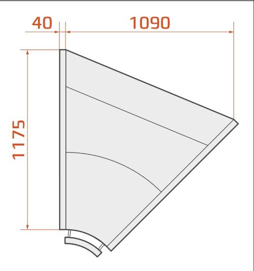 LCK Kolumba REM INT45 | Belső sarokpult 45°