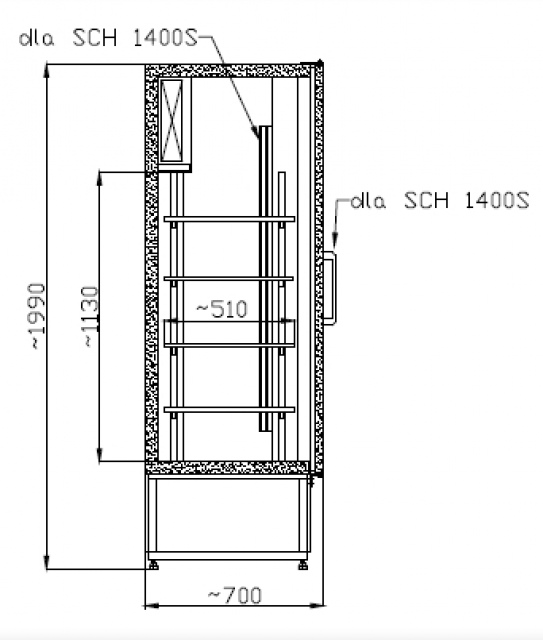 SCH 1400 INOX - Kétajtós, rozsdamentes hűtőszekrény