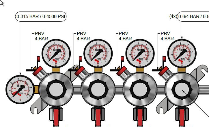 Micro Matic | 7 bar 4 tagos 4 kivezetéses CO2 reduktor