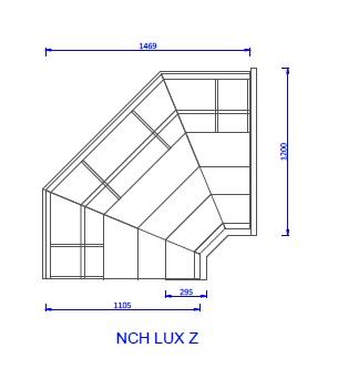 NCH LUX Z | Külső sarokpult teleszkópos frontüveggel
