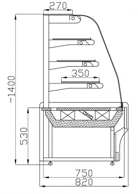 WCHCN 1,0 - Süteményes pult borítás nélkül