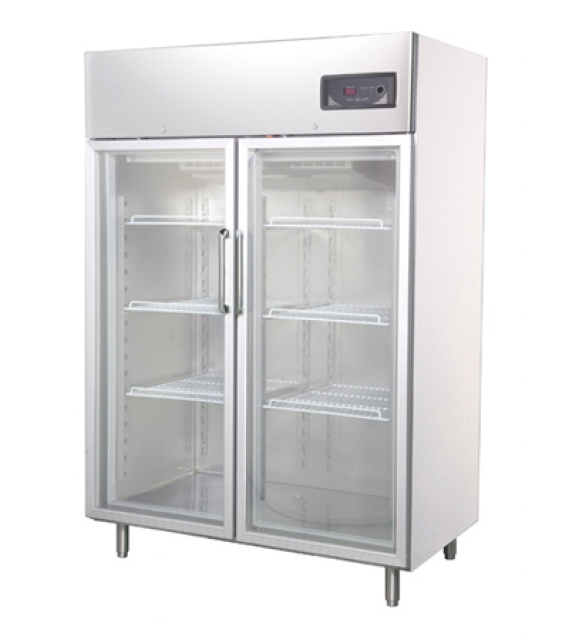 GNC1400L2G - Rozsdamentes két üvegajtós hűtővitrin