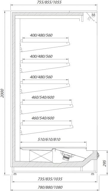 R-1 PR 120/80 PRAGA Hűtött faliregál