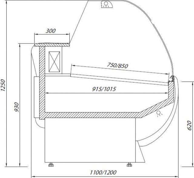 L-1 ER 110/110 - EUROPA Hajlított üvegű csemegepult