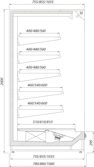 R-1 PR 120/90 PRAGA Hűtött faliregál