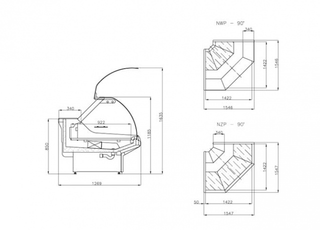 LCP Pegas EXT90 - Külső sarokpult 90°