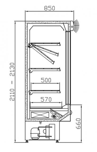 RCh-2 1,57 DAVOS - Hűtött faliregál csúszó üvegajtókkal