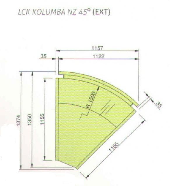 LCK Kolumba REM EXT45 - Külső sarokpult 45°