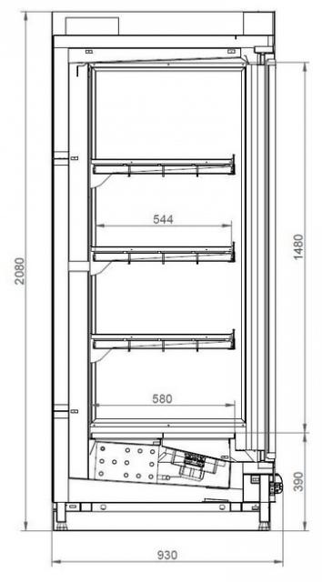 SCI Indus 02 1,56 - Hűtött faliregál - 2 ajtós
