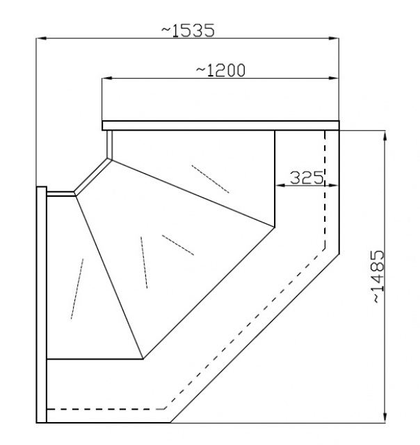 NCHIMW 1,4/1,2 - Hajlított üvegű belső sarokpult (90°)