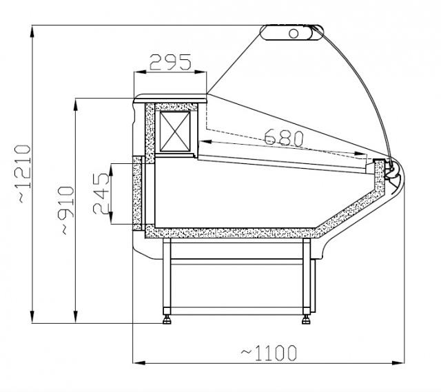 WCHR 1,3/1,1 - Hajlított üvegű csemegepult