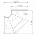 NCHNNW 1.3/0.9 - Egyenes üvegű belső sarokpult