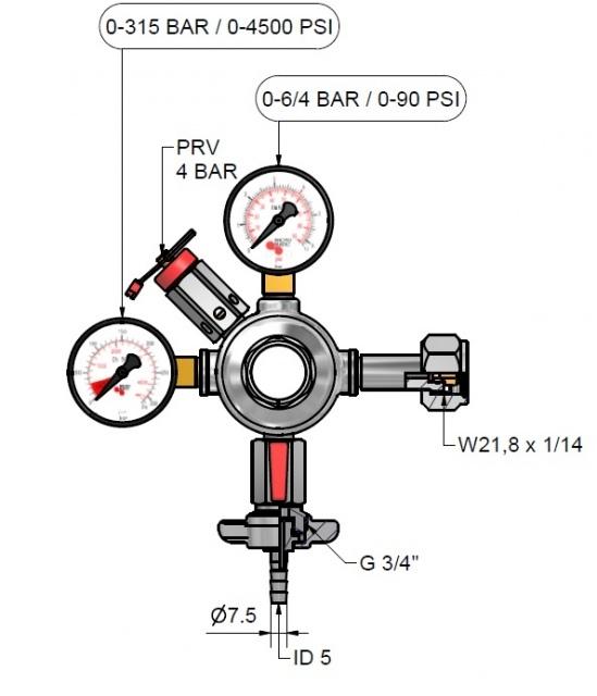 4 bar 1 kivezetéses CO2 reduktor