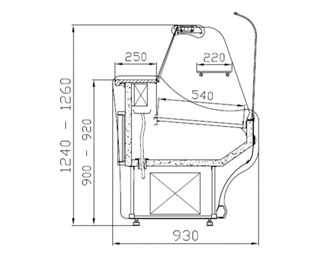 WCh-1/B-1,2/93 SANTANA - Hajlított üvegű csemegepult
