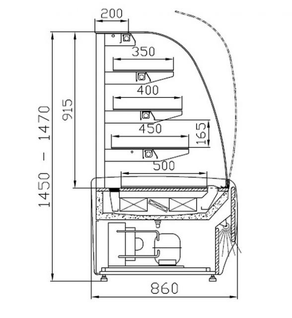 WCh-1/C 095 AMATEA - Cukrászvitrin párátlanítóval