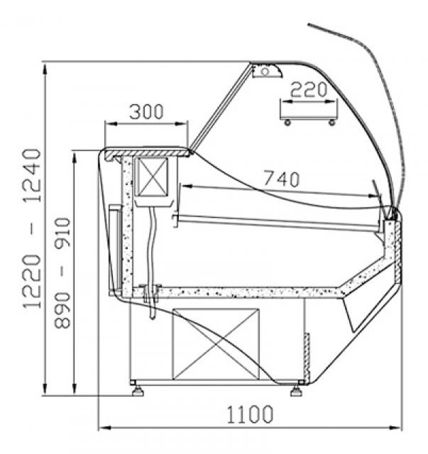 WCh-6/1B 1,2 ASTORIA - Hajlított üvegű csemegepult