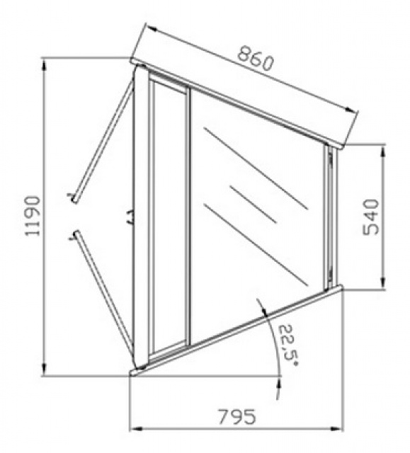 W-1/CNw-45° AMATEA - Semleges belső sarokpult