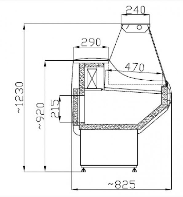 WCH 1,3/0,8 - Egyenes üvegű csemegepult telepített aggr.