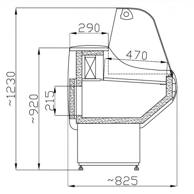 WCHG 1,3/0,8 - Hajlított üvegű csemegepult telepített aggr.