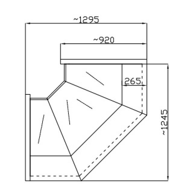 NCHGNNW 1.3/0.9 - Hajlított üvegű belső sarokpult