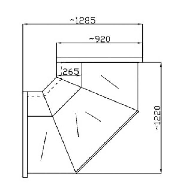 NCHGNNZ 1.3/0.9 - Hajlított üvegű külső sarokpult