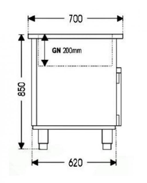 LS 0,8 - Saláta hűtőpult 2x GN 1/1