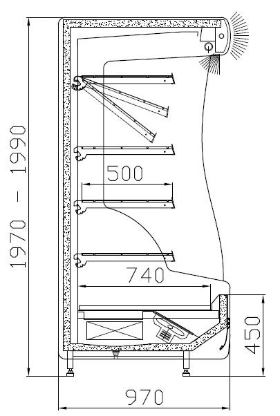 RCh-1-1 1,0 ORLANDO - Hűtött faliregál