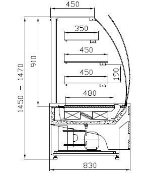 WCh-1/C 095 ESTERA - Süteményes pult hajlított frontüveggel